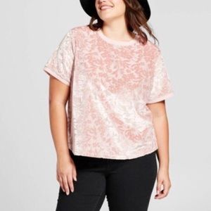 Velvet Ringer Tee - Floral Design - Blush Pink